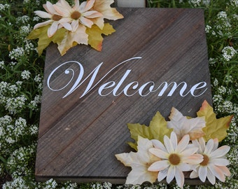 Wooden Flower Sign, Home Decor, Outdoor Decor, Housewarming Gift, Decorative Sign, Welcome Sign, Flower Sign