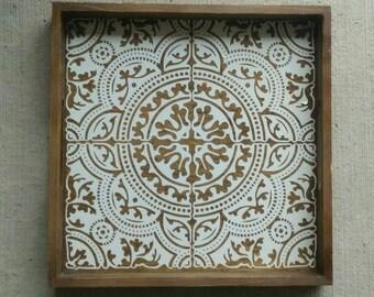 Decorative Tray Black Design Silver Design Round Metal