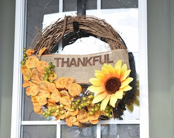 Rustic Sunflower Wreath, Thankful, Home Decor, Housewarming Gift, Rustic Decor, Front Door Decor