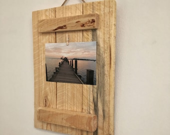 Pallet wood photo frame, natural rustic wooden photo/ picture display