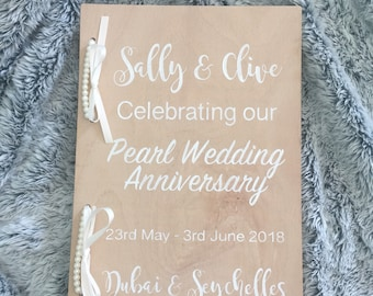 Personalised wooden wedding/ anniversary scrapbook or photo album or guest book