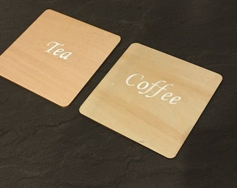 Wooden drinks coasters; tea and coffee drinks mat coaster set