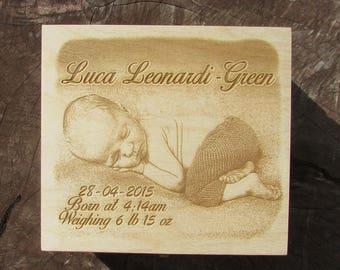Personalisierte Foto Graviert Holz Große Taufe Neue Baby Andenken