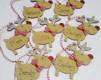 Christmas Tree Decoration Reindeer Ornament Personalised Decorated Childs Custom Name Glitter