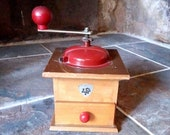 Vintage wooden and red painted metal coffee mill - made by COFF Italy - coffee bean grinder