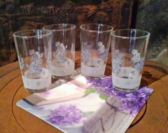 3361ff744ab Set of four beautiful little Italian liqueur glasses - blue and white  floral glasses
