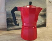 Red enamelled aluminium coffee pot - Italian Ernesto stove top cafetiere - 6 small cups