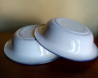 Two white and blue enamel bowls - vintage French enamelware