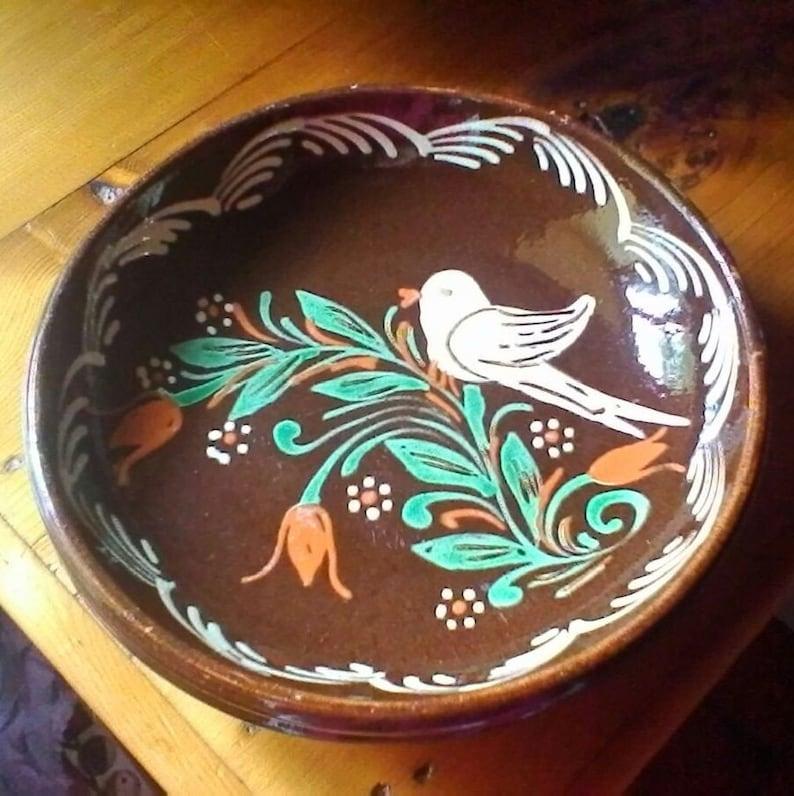 Deux assiettes de poterie vitrée dAlsace - bols de poterie dAlsace vintage - murale murale ou autoportante
