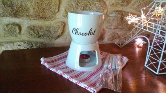Vintage Chocolate Fondue Set With Its Warming Trivet Cosy Trendy Ceramic Set