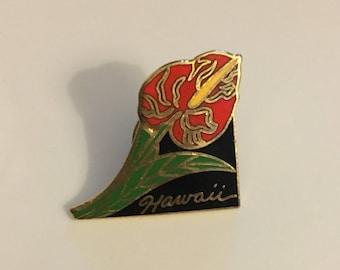 Vintage Hawaii Flower Pin, Retro Hibiscus Flower Pin, Hawaii Hibiscus Flower Pin
