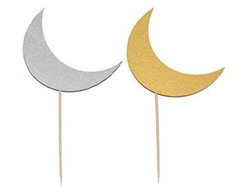 Crescent Moon Cupcake Toppers and Party Picks (12 pack)
