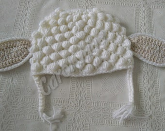 Lamb Hat for Newborn, Crochet Lamb Hat for Newborn, Crochet Lamb Hat, Baby Crochet, Lamb Hat for Newborn Photoshoot, Newborn Photoshoot Hat