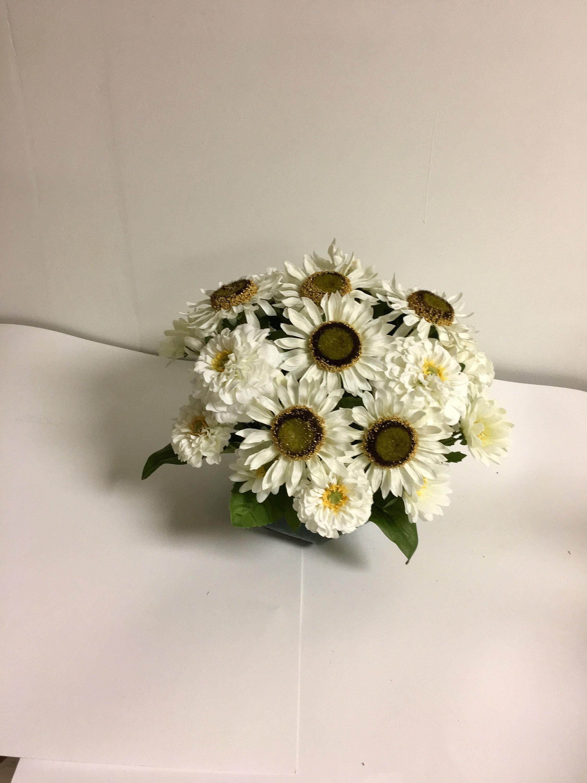 White Sunflower Arrangement Etsy
