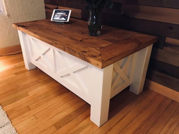 Farmhouse Double X Coffee Table Free Shipping Etsy