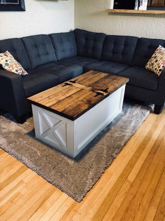 Farmhouse Storage Coffee Table Free Shipping Etsy