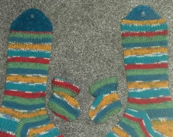 Hand knit matching Mummy and baby socks.