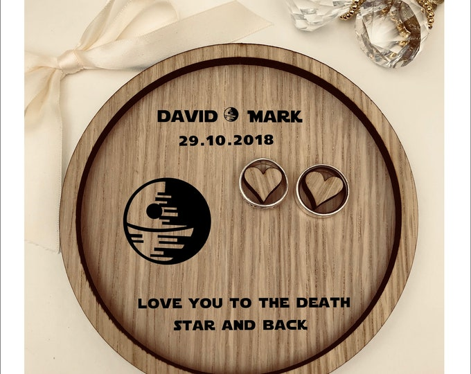 Wedding Ring Bearer Tray: Personalised Engraved Star Wars Death Star. Dish, Box, Gift, Vintage, Rustic, Weddings, Anniversary, Pillow
