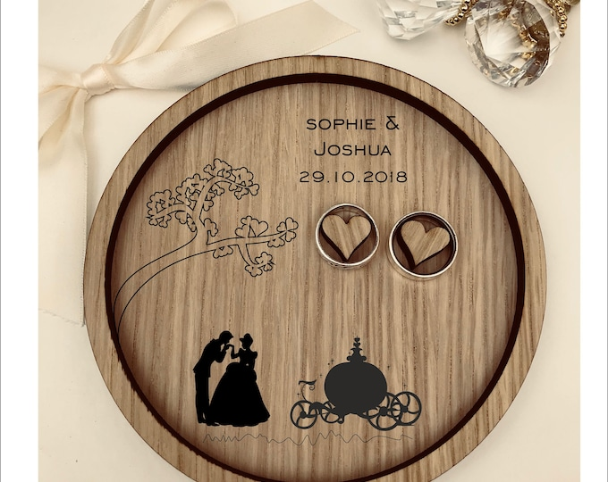 Wedding Ring Bearer Tray: Personalised Engraved Disney Cinderella & Prince Charming Dish, Box, Gift, Vintage, Rustic, Weddings, Anniversary.