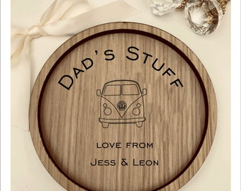 Personalised Wooden Ring Dish Tray. Camper Van Engraved with your text Coin Dish, Jewellery Box, Vintage Christmas Birthday Anniversary Gift
