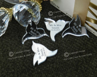 Personalised Hummingbirds Wedding Confetti, Mr & Mrs Table Decorations, Unique, Custom Made. Your Own Text Engraved, Wedding Favours