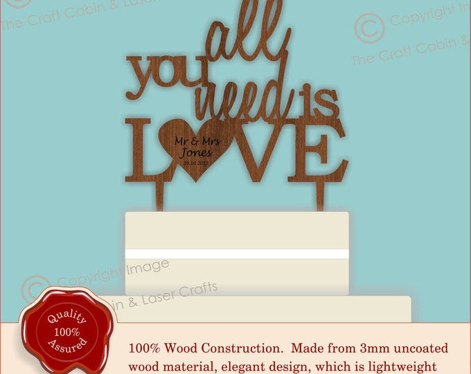 All you need is LOVE - Wooden Personalised Cake Topper. Vintage Weddings