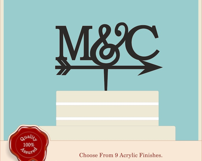 Fancy Monogram Arrow - Acrylic Personalised Cake Topper. Couples, Wedding, Initials, Anniversary