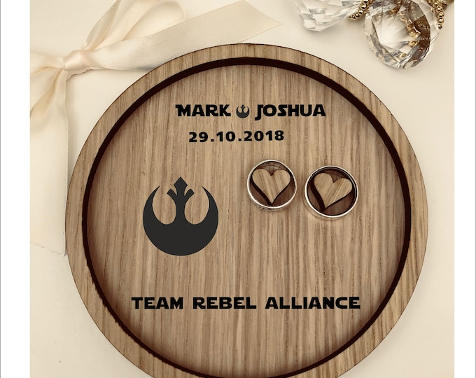 Wedding Ring Bearer Tray: Personalised Engraved Star Wars Galactic Empire, Rebel Alliance. Dish, Box, Gift, Vintage, Rustic, Weddings,Pillow