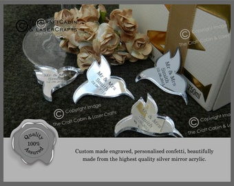 Personalised Hummingbirds Wedding Confetti, Mr & Mrs Table Decorations, Unique, Custom Made. Your Own Text Engraved, Wedding Favours, Party