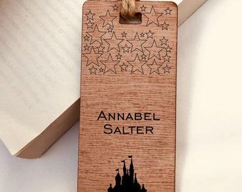 Personalised Engraved Wooden Bookmark, Cinderella, Princess, Disney Fairytale Castle, Gift, Reader, Walt Disney, Vintage, Rustic