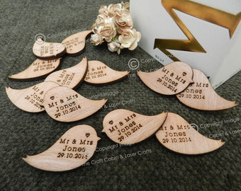 Personalised Wooden Love Birds Table Confetti, Decor, Party Decorations. Wedding Favours, Unique lovebird Design