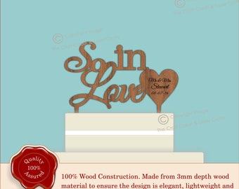 So In Love - Wooden Personalised Cake Topper. Vintage Weddings