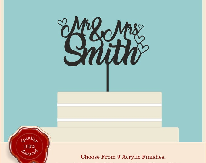 Script, Swirly, Wedding Cake Topper Personalised Mr & Mrs Hearts Cake Topper Customized Table Decor, Anniversary, Engagement, Party Cake