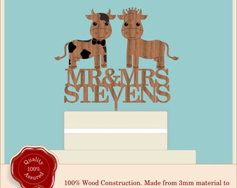 Wedding  ''Cute Mr & Mrs Cow Couple'' Farm Wooden Personalised Cake Topper. Vintage, Rustic, Anniversary, Engagement