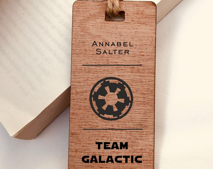 Wooden Bookmark, Star Wars Team Galactic Empire - Personalised, Engraved, Family Gift, Reader, Custom, Birthday, Christmas, Vintage, Rustic