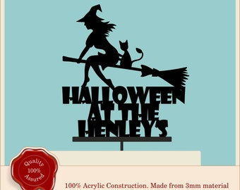 Personalised Halloween Cake Topper. Haunted House, Bats, Ghosts, Witch, Pumpkin, Scary, Party, Happy Halloween, Family Name