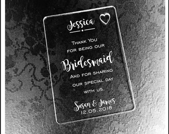 Personalised Bridesmade Wallet Card for Special Gift and Memory Keepsake. Engraved Gift Card as Thank you or Wedding Gift for Bridesmade.