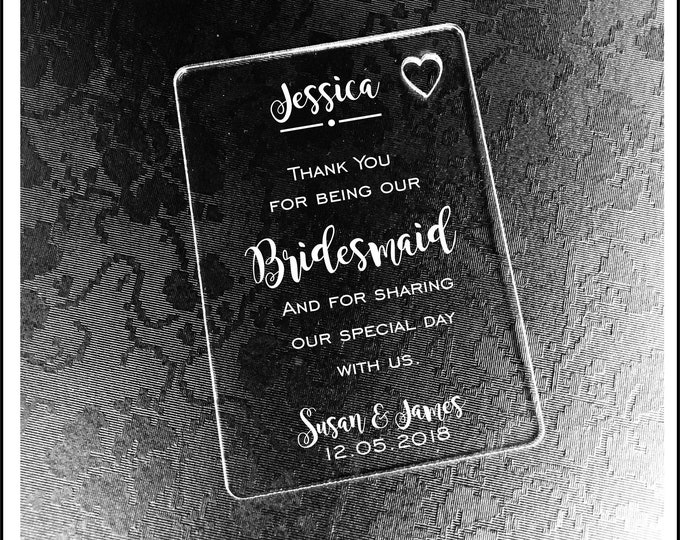 Personalised Bridesmaid Gift Wallet Card Keepsake. High Quality Engraved Acrylic, Gift from Bride, Groom, Couples, Thank You.