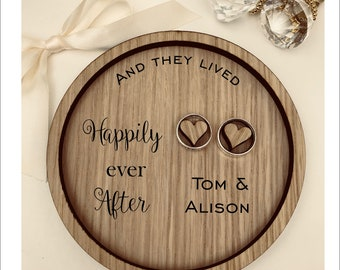 Wedding Ring Bearer Tray: Personalised Engraved Happily Ever After Ring Dish, Box, Gift, Vintage, Rustic, Weddings, Anniversary, Pillow