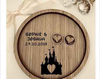 Wedding Ring Bearer Tray: Personalised Engraved Disney Cinderella Fairytale Castle Dish, Box, Gift, Vintage, Rustic, Weddings, Anniversary.
