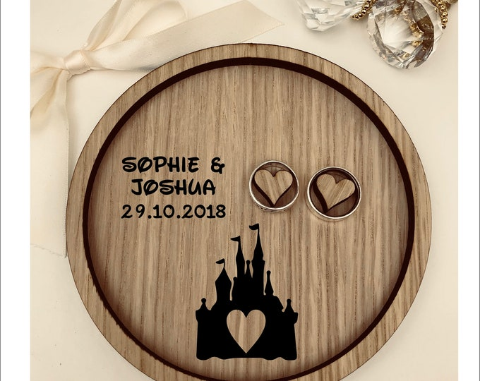 Wedding Ring Bearer Tray: Personalised Engraved Disney Cinderella Fairytale Castle Dish, Box, Gift, Vintage, Rustic, Weddings, Anniversary.