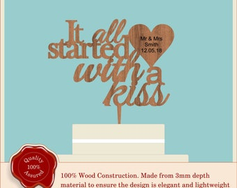 It all started with a kiss- Wooden Personalised Cake Topper. Vintage Weddings