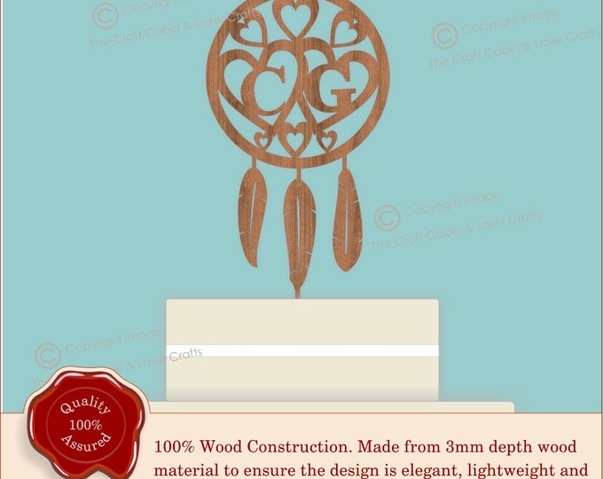 Dreamcatcher - Wooden Personalised Cake Topper. Vintage Weddings