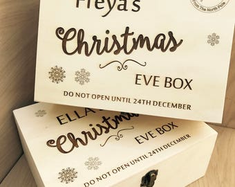 Personalised Wooden Engraved 'Christmas Eve Box'. Perfect Special Gift For Xmas Eve Fillers and Treats. Gift for Him/Her, Ideal for Kids.