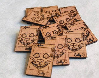 Mini Wooden Cheshire Cat Playing Cards Table Confetti, Personalised Tea Party Decorations. Alice in Wonderland, Wedding Favours.