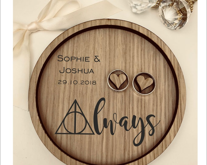 Wedding Ring Bearer Tray: Personalised Engraved Always Harry Potter.  Dish, Box, Gift, Vintage, Rustic, Weddings, Anniversary, Pillow