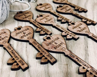 Personalised Wooden Heart Key Mini Lovespoons. Ideal Vintage Wedding Favours or Table Decorations. Great as Confetti Style for a Party.