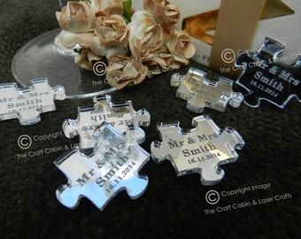 Personalised Acrylic Puzzle Pieces, Jigsaw Shapes Wedding Favours, Table Confetti, Party Decorations. Fit together