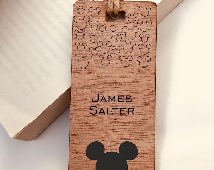 Mickey Mouse, Disney, Personalised Engraved Wooden Bookmark, Boys, Girls, Gift, Reader, Walt Disney, Vintage, Rustic