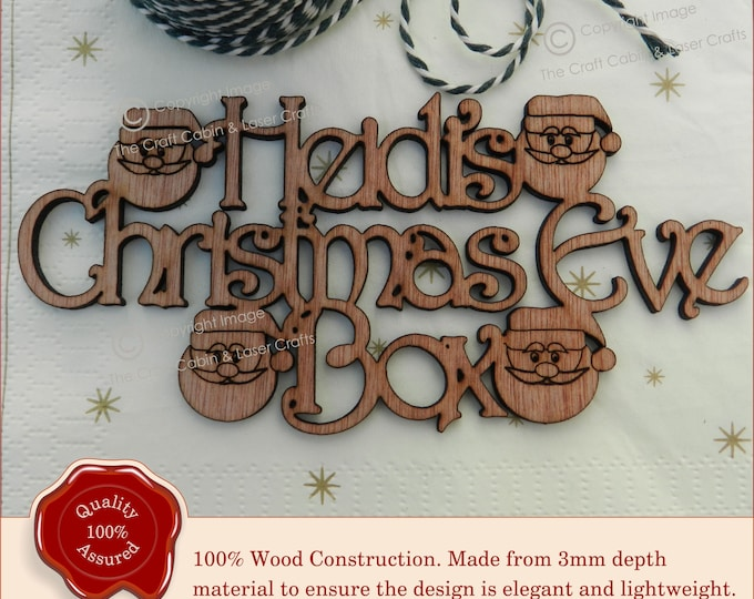 Beautiful Personalised 'Christmas Eve Box' Sign. Wooden Santa Craft Sign.